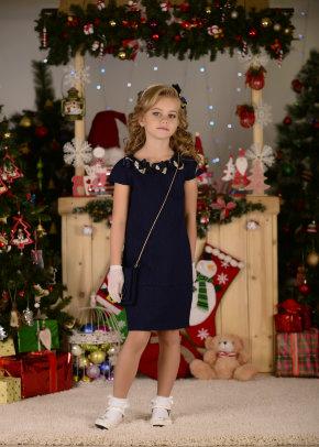 """Платье Lila Style """"Эшли"""" в комплекте: сумочка, перчатки, ободок, цвет синий арт.LS-049"""
