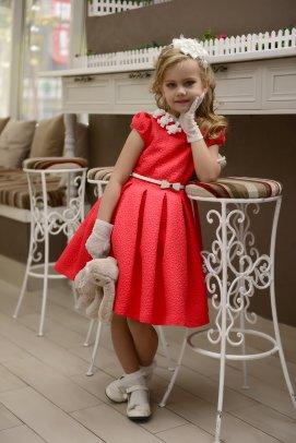 """Платье Lila Style """"Эльза"""" в комплекте: сумочка, перчатки, ободок, цвет красный арт.LS-048"""