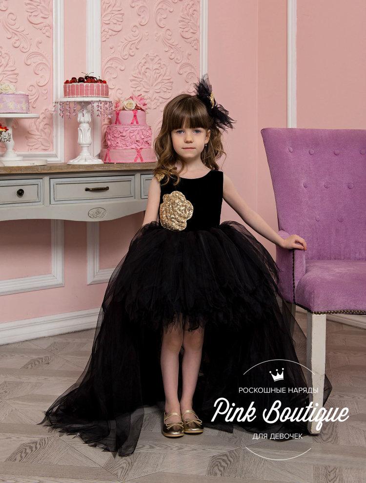 Черное Платье С Розовыми Перьями Внизу Детское
