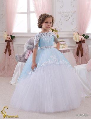 Платье бальное Престиж FG0365 белый-голубой