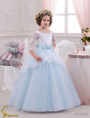 Платье бальное TRINITY bride арт.FG0432 Белый-голубой