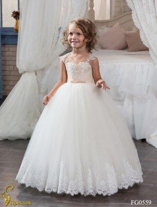 Платье праздничное TRINITY арт.FG0559 молочный/капучино
