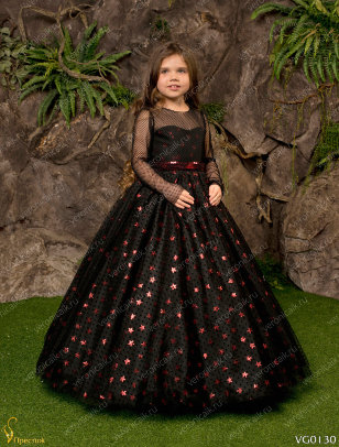 Платье бальное Престиж VG0130 черный-бордовый