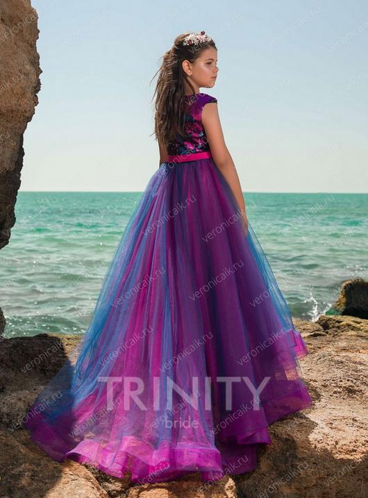8bdd15de2826 Платье бальное со шлейфом TRINITY bride арт.TG0415 малиновый-синий