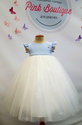 """Платье+заколка для малышки Beggi """"Ангелочек"""" с крылышками арт. В-264 голубое"""