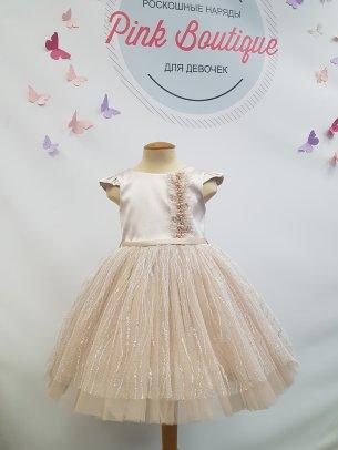 """Платье+ободок для девочки Beggi """"Далида"""" арт. В-8472 бежевое"""