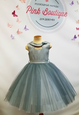 """Платье для девочки Beggi """"Клементина"""" арт. В-8648 темное серебро"""