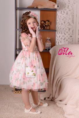"""Платье Lila Style """"Стефания"""" принт роза, в комплекте: ободок, перчатки, сумочка, арт.LS-063"""