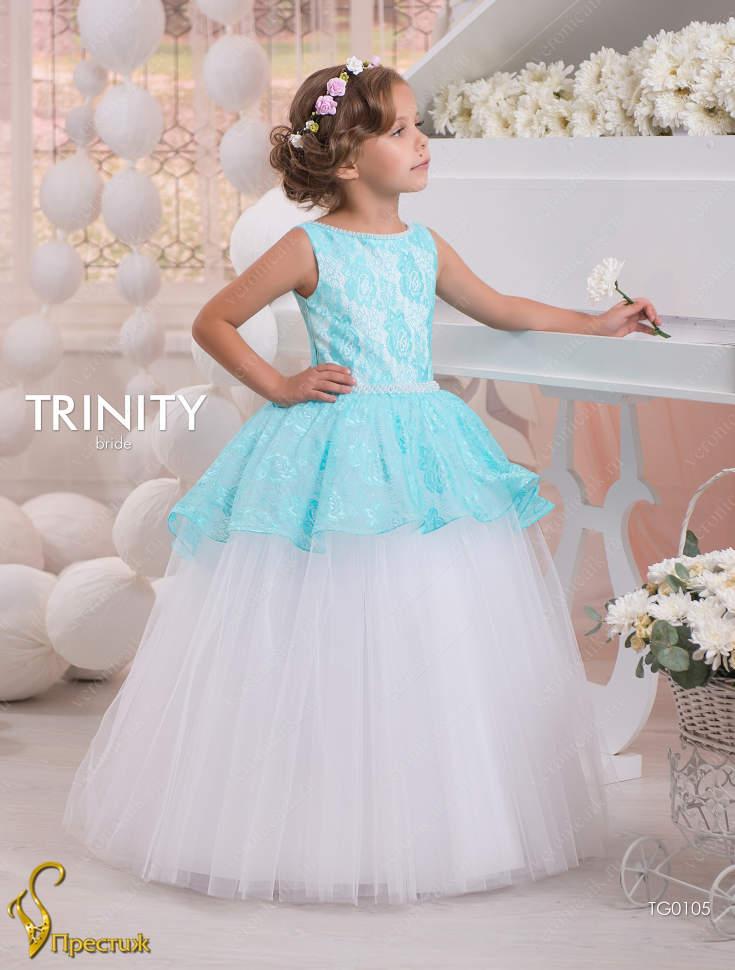 7c652b56bb4 Платье бальное TRINITY bride TG0105 белый бирюзовый